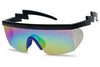 Super Retro Party Favor Neon Colored ZigZag Hipsters Sunglasses with Mirrored Rainbow Lenses