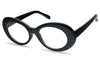 All Black Oval Clout Goggles Clear Lens Eye Glasses KS1810 7333CLR SU1810 SU7333