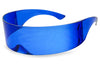 Futuristic Wrapped Around Blue Shielded Novelty Halloween Costume Sunglasses Unisex