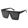 All black Flat top squared aviator shield goggle sunglasses for men and women