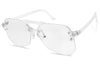 Clear aviator sun glasses fashion crystal translucent shades
