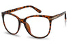 tortoise shell frame glasses with clear demo fake lenses