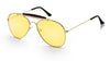 Original fear and loathing las vegas gold aviator sunglasses with Yellow night driving HD computer anti-glare reflective blue light blocking fashion affordable glasses metal frame Style SU52017 52017YL