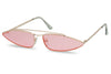 light pink transparent bad bunny sunglasses oval aviator slim narrow shades