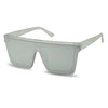 Large one piece shield sun glasses in all silver frost half frame summer sunglasses