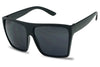 matte black squared large big huge extra-large xl over sized boxed flat top super dark lens sunglasses CH03 SUCH03