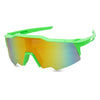 neon green sport style full shielded goggle shades with fire red lens