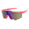 cute girl neon bright pink kim k sports active geometric style wrap around sun glasses