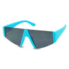 Bright Neon Highlighter Blue Half Frame Super Flat Top Black Triangle Lens Sun Glasses