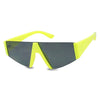 Neon Bright Yellow Semi Rimless Thick Flattop Aviator Party Shades Women