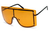 Orange see through transparent oversized shield rimless no frame fashion retro celebrity mask sunglasses