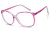 crystal clear light pink tinted squared cute clear lens fake reading prescription eyewear glasses ladies girls women