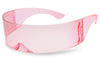 Transparent Light Pink Wrap Arounds Womens Novelty Festival Fashionable Sun Glasses KS1521C1 Colorful Frame and Lens