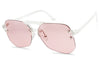 Crystal pink rimless cutout large geometric aviator sunglasses plastic frame two colors transparent color cool shades women men