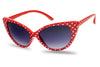 1950's Round Cat Eye Pin Up Red Polka Dot Cute Novelty Sunglasses