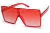 all red squared sunglasses extra large big huge fashion sunglasses frame for ladies cute sexy blood red super colorful