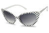 Women White Cateye Sunglasses Black Polkadot Polka Fashionable 50's Sun Glasses