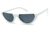 White Womens Cat Eye Half Moon Elegant Cute Sexy Black Lens Sunglasses KS1842 SU1842