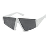 Chunky White Bold Flat Top Retro Funky Cool Sunglasses For Women