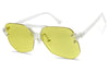 transparent clear yellow frameless geometric round aviator sunglasses