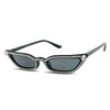 slim narrow cateye sunglasses in all black