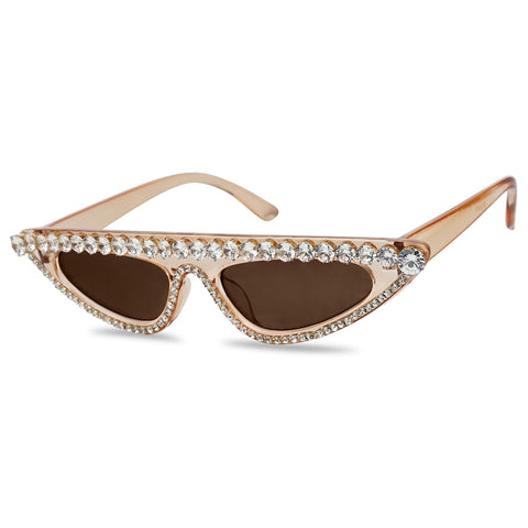 Crystal Brown See Through Transparent Frame Sun Glasses Flat Top Slim Tiny Cateye Bling Bling Shades Orange Tint