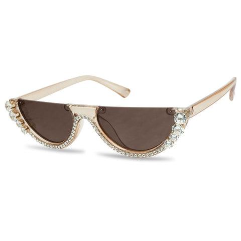EMBELLISHED HALF MOON CAT EYE RHINESTONE SUNGLASSES