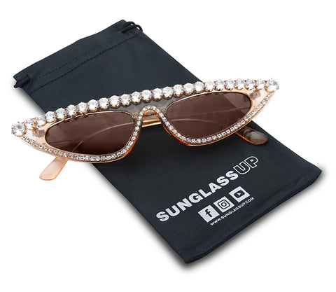SMALL NARROW GLAM STUDDED CAT EYE SUNGLASSES