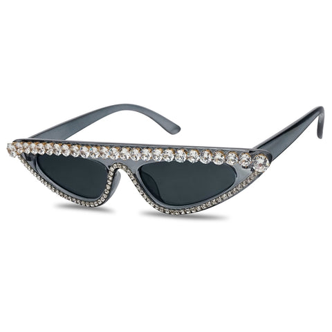 Full Rhinestone Flat Top Cat-Eye 90s Retro Shades Translucent Grey Black Glasses