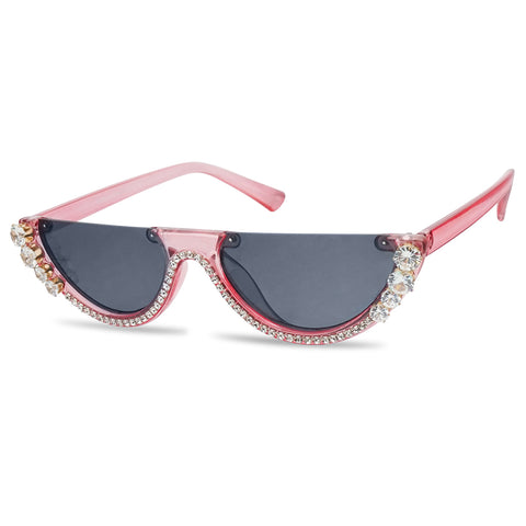 Clear Transparent Pink Sunglasses Bedazzled 90s Oval Narrow Shades