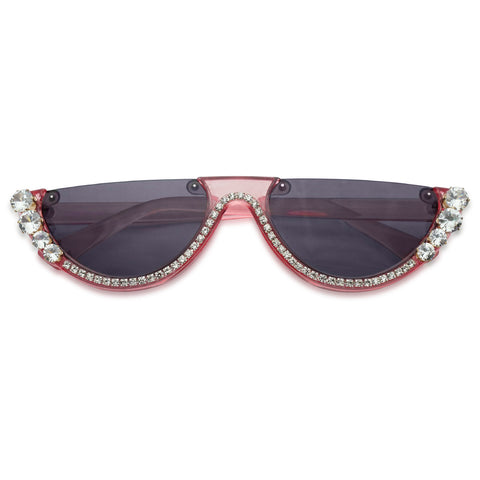 acrylic pink see through frame translucent sun glasses