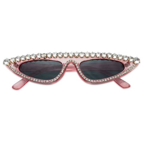 Womens Large Rhinestone Bling Luxury Sunglasses Vintage Style Small Oval Cat eye Goth Glasses Pink Tint