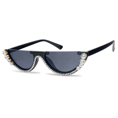 Black Rhinestone Stud Sunglasses Cateye Oval Flattop Glasses
