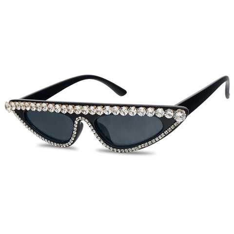 Mini 1990 Designer Inspired Clout Goggle Cat Eye Sunglasses with Diamonds
