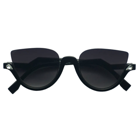 DIAMOND STUDDED HALF FRAME CAT EYE SUNGLASSES