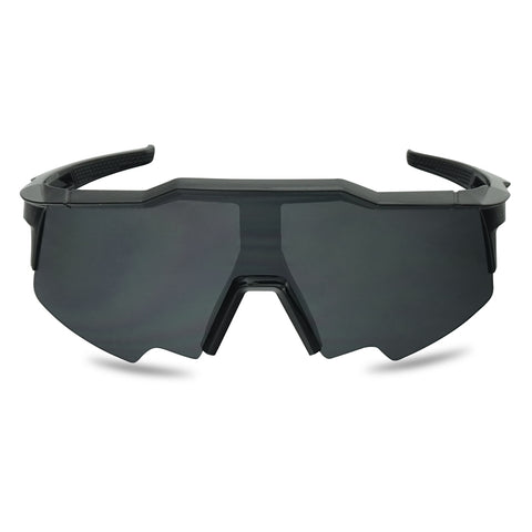 GEOMETRIC SEMI-RIMLESS WRAP AROUND SMOKE GOGGLE SUNGLASSES
