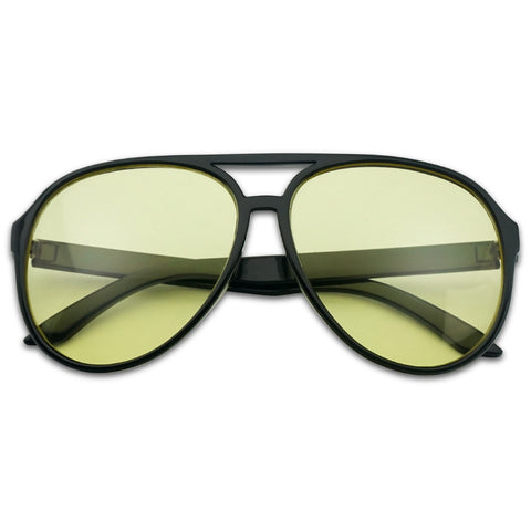 RETRO 1980'S YELLOW LENS AVIATOR SUNGLASSES