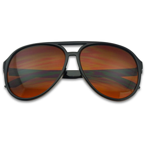 OVERSIZED CLASSIC AVIATOR BLUE BLOCKING AMBER LENS SUNGLASSES