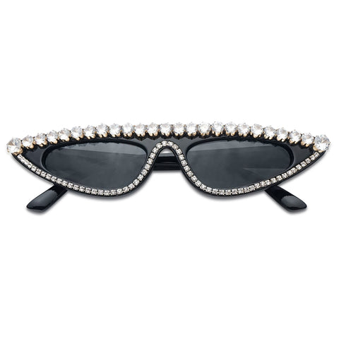 All Black Party Sunglasses Ladies Elegant Stunning Small Wide Narrow Cat Sunnies Retro