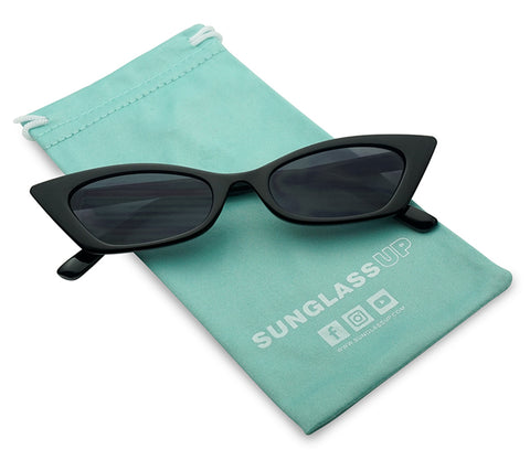 MODERN SLIM HIGH POINTED NARROW CAT EYE SUNGLASSES