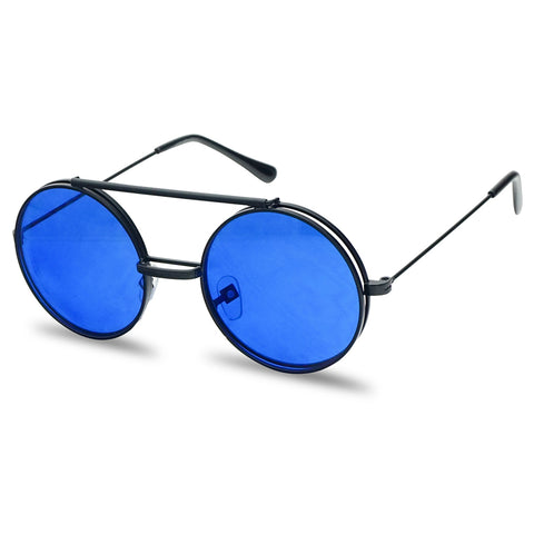 COLOR TINTED CIRCULAR STEAMPUNK FLIP-UP SUNGLASSES