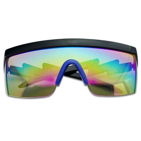 RETRO RAINBOW MIRRORED FLAT TOP SHIELD SUNGLASSES