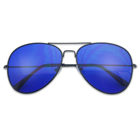 BLACK RETRO COLOR LENS AVIATOR SUNGLASSES