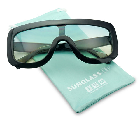 BOLD FULL SHIELD COLOR TRANSPARENT SUNGLASSES