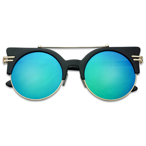 HALF FRAME BROW BAR MIRRORED CAT EYE SUNGLASSES