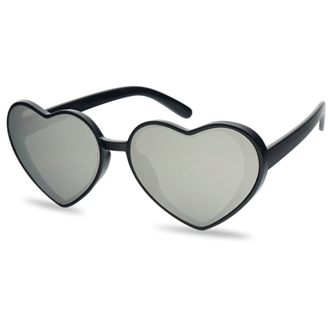 OVERSIZED FLAT MIRRORED HEART-SHAPED SUNGLASSES