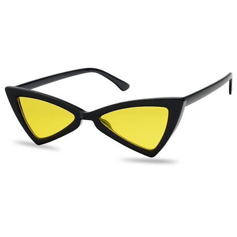 TRIANGULAR BOW-TIE COLOR LENS CAT EYE SUNGLASSES
