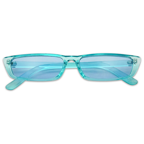 90'S RECTANGULAR CANDY COLOR VIBES SLIM SUNGLASSES