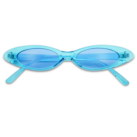 SLIM RETRO WRAPPED COLOR TRANSLUCENT OVAL CAT EYE SUNGLASSES