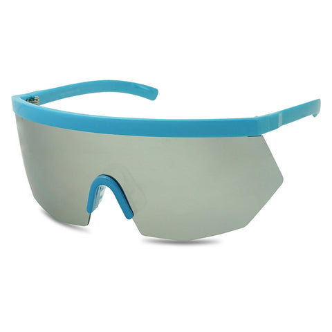 SUPER OVERSIZE GEOMETRIC NEON FLAT TOP SINGLE SHIELD SUNGLASSES